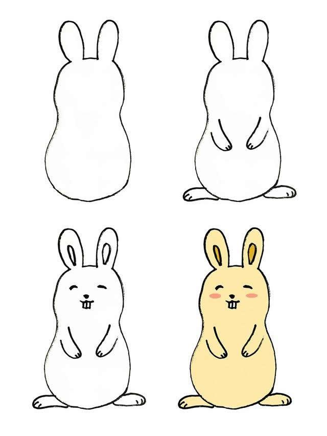 站着的小兔子画法步骤图片