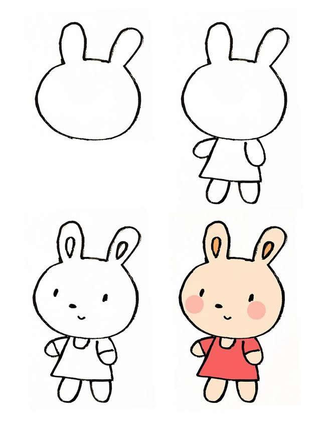 卡通兔子的彩色画法步骤图片