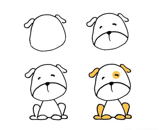 儿童简笔画可爱的小狗画法步骤图片三