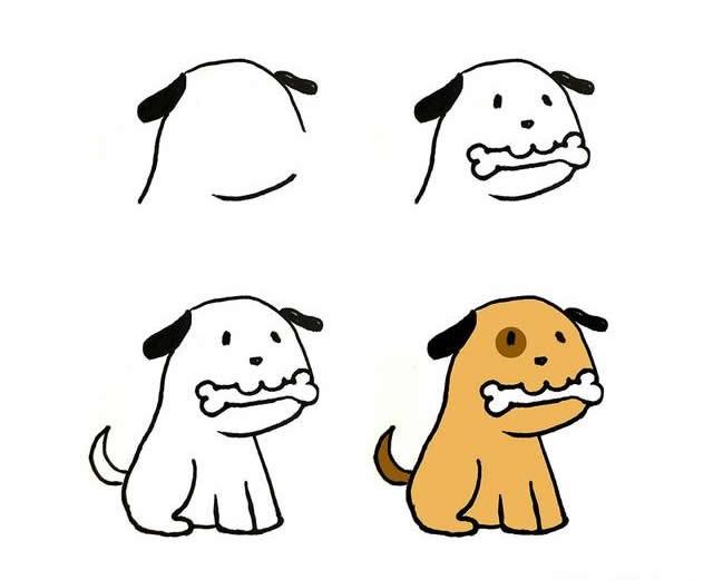 儿童简笔画可爱的小狗画法步骤图片四