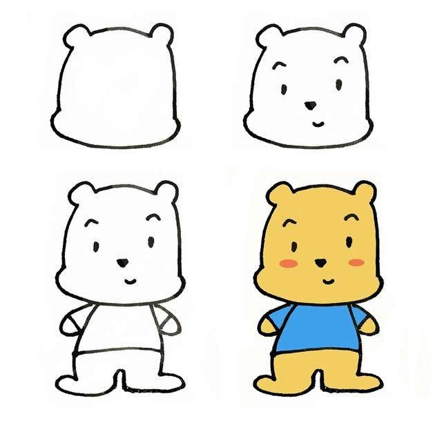 儿童简笔画萌萌的卡通小熊画法步骤图片四