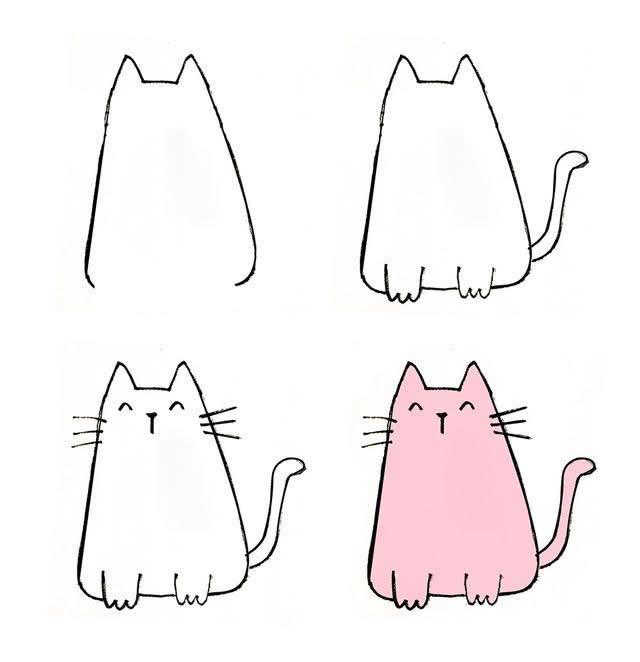 儿童简笔画可爱的小猫画法步骤图片三
