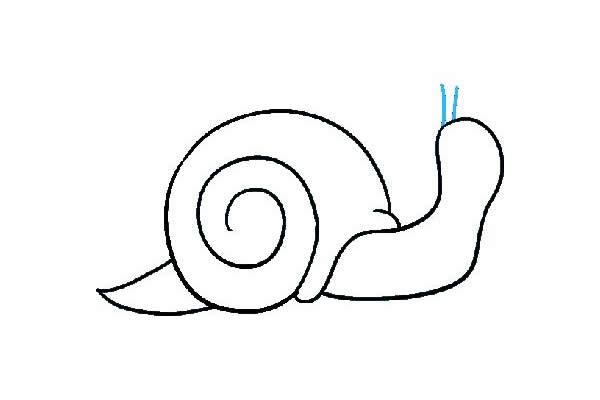 卡通蜗牛简笔画绘画步骤图教程