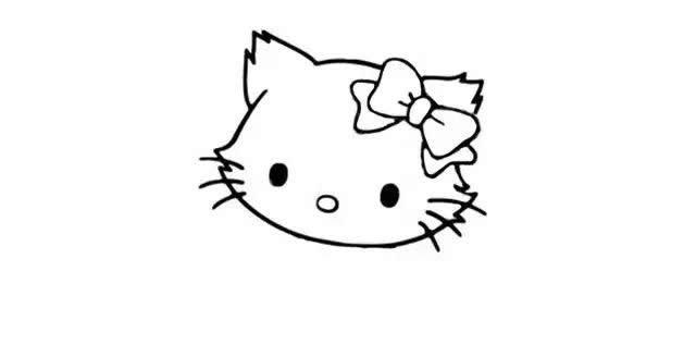 戴蝴蝶结的猫咪简笔画步骤图解教程