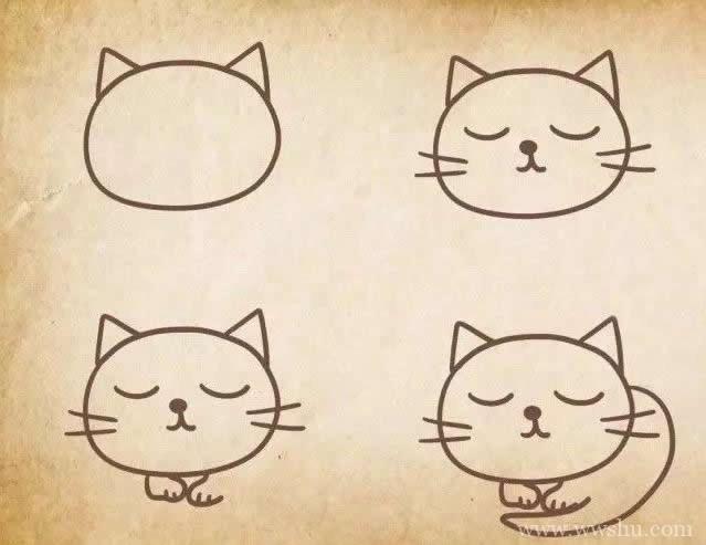 五种小猫咪简笔画的画法步骤图解教程