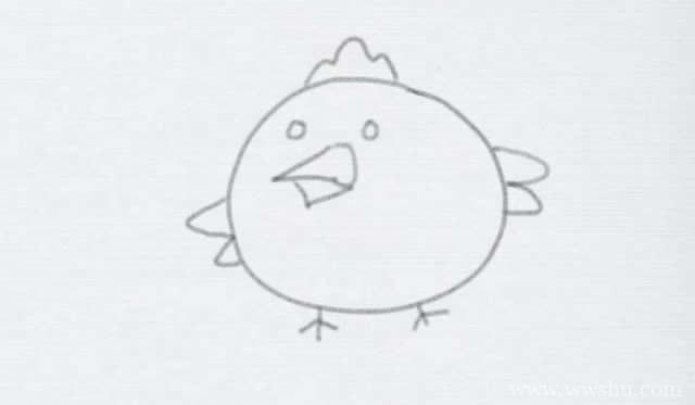 卡通小鸡简笔画的画法步骤图解教程
