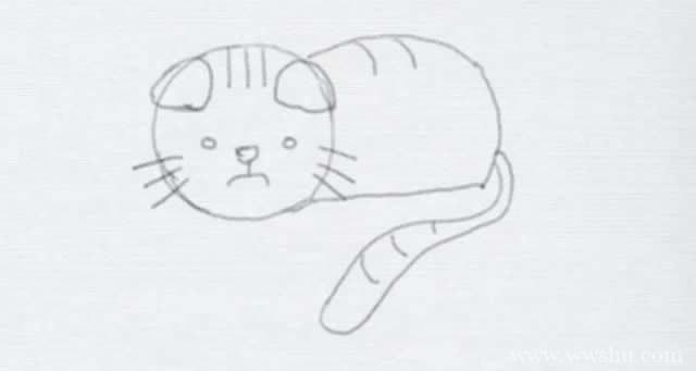 教你画一只可爱的猫咪简笔画步骤图解教程