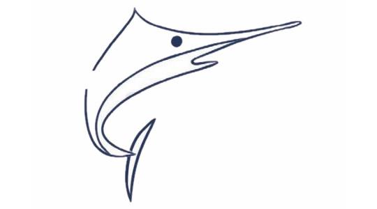 剑鱼简笔画的画法步骤图解教程及图片大全
