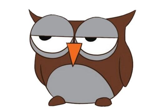 卡通猫头鹰简笔画的画法步骤教程及图片大全