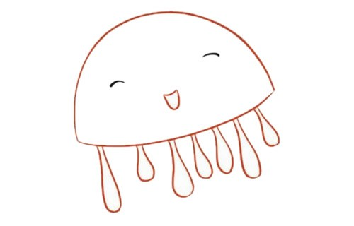 卡通水母简笔画的画法步骤教程及图片大全