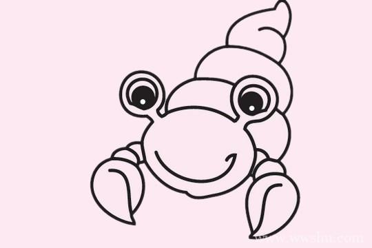 寄居蟹简笔画的画法步骤教程及图片大全