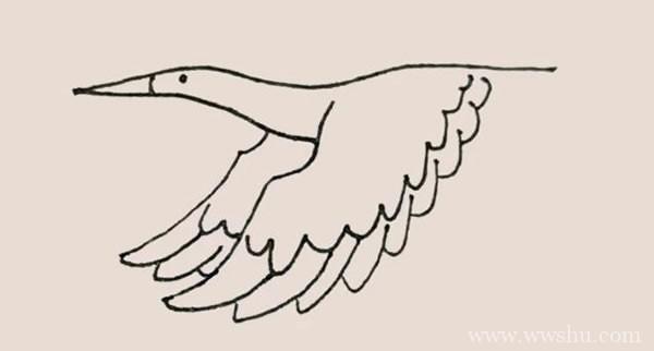 鹤简笔画的画法步骤图教程