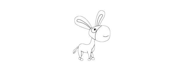 小毛驴简笔画简单画法步骤图解教程及图片大全
