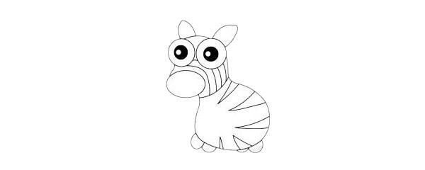 超简单的斑马简笔画画法步骤图解教程及图片大全