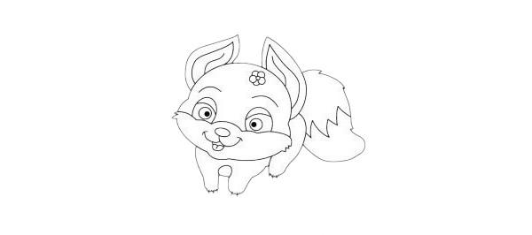 卡通狐狸简笔画简单画法步骤图解及图片大全