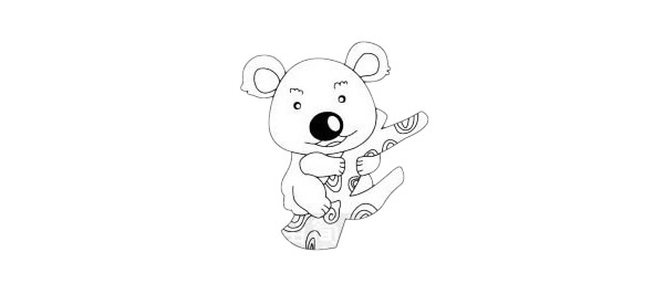 考拉简笔画简单画法步骤教程及图片大全