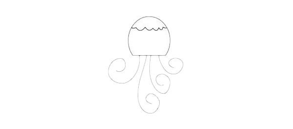 卡通水母简笔画简单画法步骤教程及图片大全