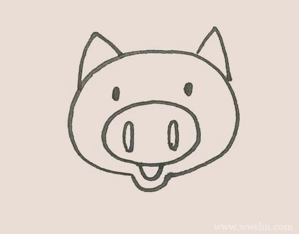 可爱小猪简笔画步骤教程 彩色画法