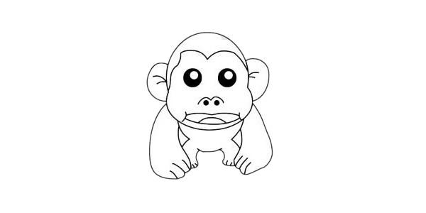 卡通猩猩简笔画画法步骤教程及图片大全