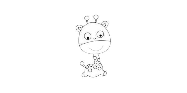 卡通长颈鹿简笔画画法步骤教程及图片大全