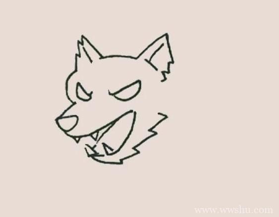 凶狠的狼简笔画简单画法步骤图解教程