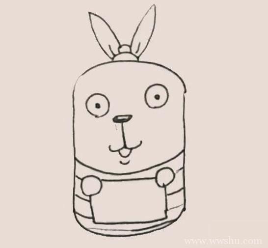 越狱兔简笔画彩色画法步骤图解教程