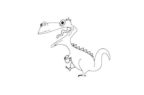窃蛋龙简笔画儿童画法步骤教程及图片大全