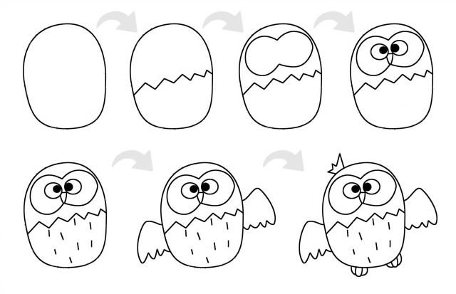 超简单的猫头鹰简笔画步骤图解教程