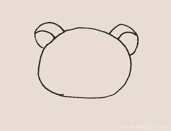 棕色轻松熊简笔画画法步骤教程