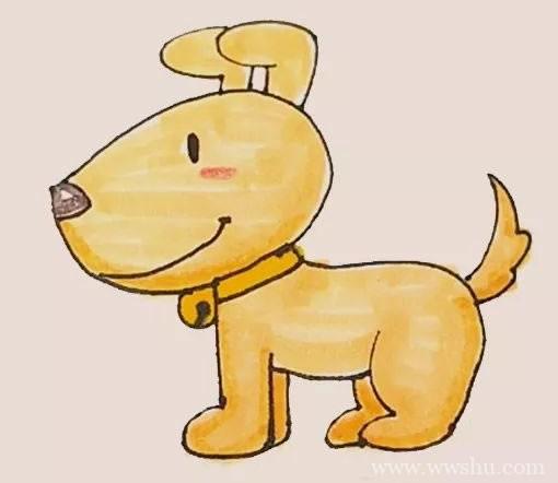 小黄狗简笔画的画法步骤图解教程