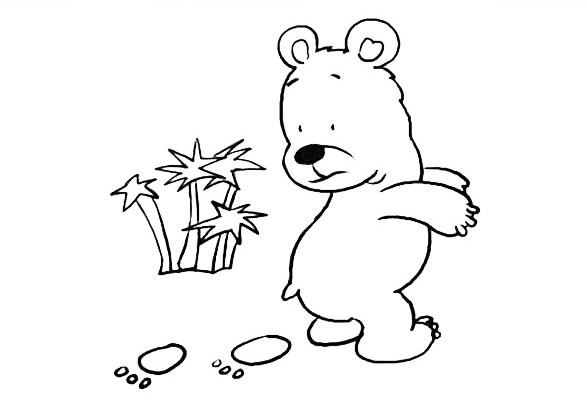 小熊的脚印简笔画图片