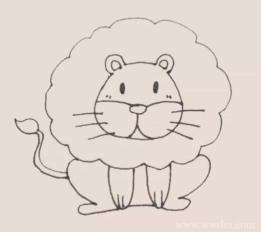 可爱的狮子简笔画步骤图解教程