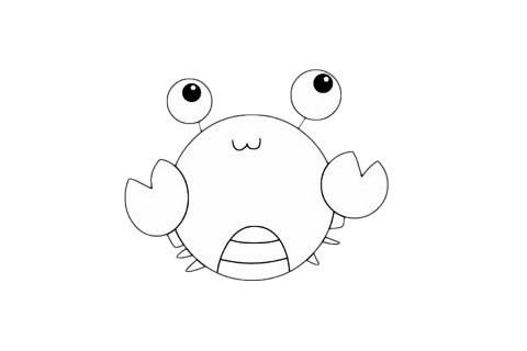 可爱的螃蟹简笔画简单画法步骤图片大全