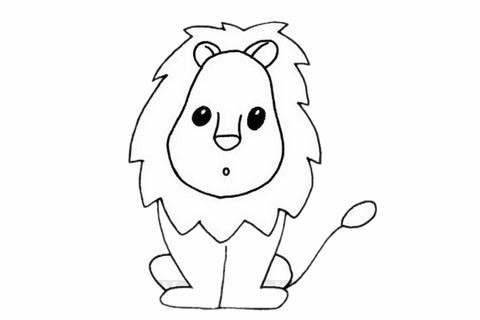 公狮简笔画/简单画法/步骤教程/图片大全