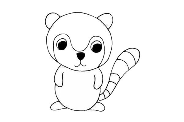 卡通狐猴简笔画步骤教程及图片大全