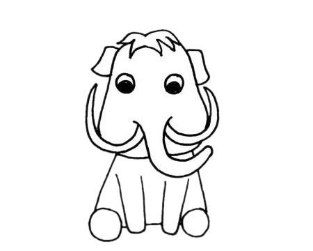 猛犸象简笔画_简单的猛犸象简笔画画法步骤图解教程