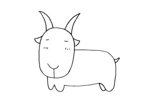 山羊超简单画法_山羊简笔画步骤图解教程及图片大全