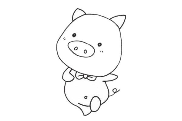 幼儿画一只可爱的小猪简笔画步骤教程及图片大全