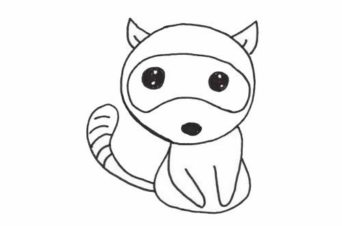 浣熊简单画法_可爱的浣熊简笔画步骤图解教程及图片大全