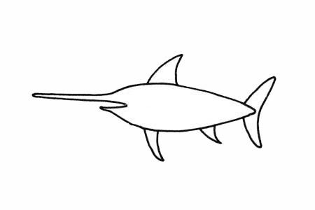 超简单的剑鱼简笔画步骤画法及图片大全