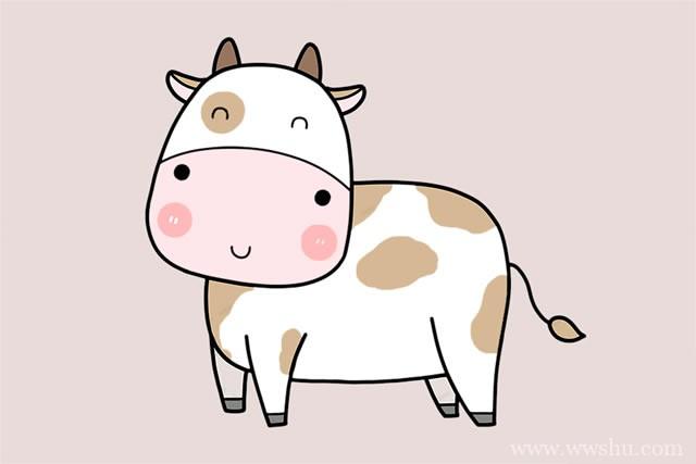 超简单的奶牛简笔画步骤画法图片大全