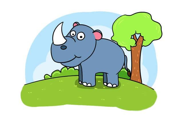 犀牛的简笔画可爱画法步骤图片大全