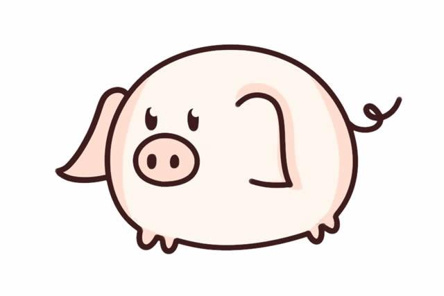 可爱的猪简笔画步骤图解画法