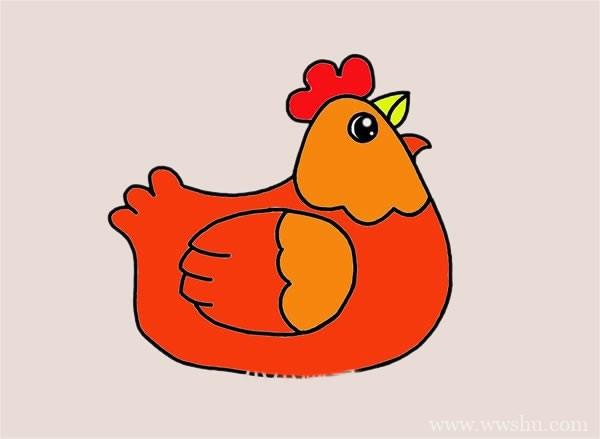 老母鸡简笔画_母鸡简笔画步骤图解教程
