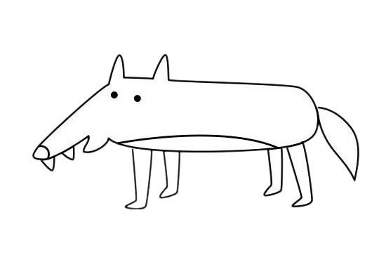 小狼简笔画简单画法步骤画法图片大全