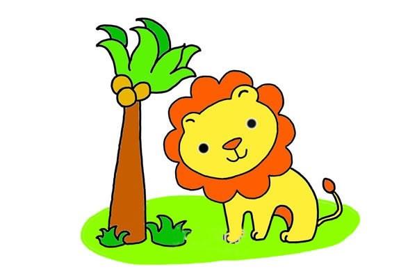 在椰子树旁的可爱狮子简笔画步骤画法教程