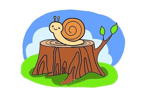 树桩上的蜗牛简笔画步骤画法图片大全