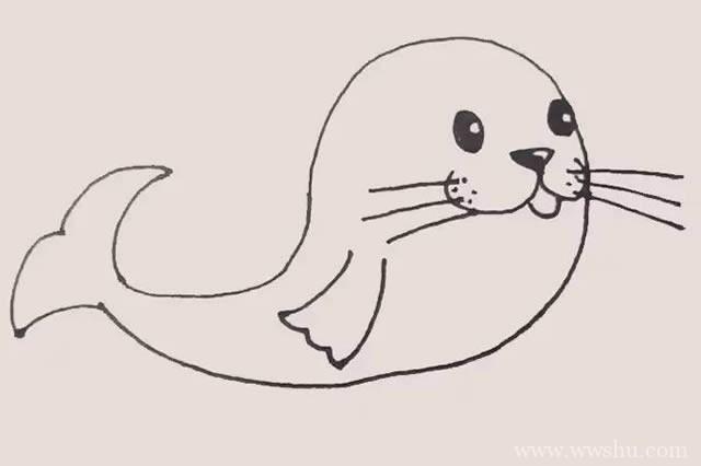 儿童学画海豹简笔画步骤图解教程