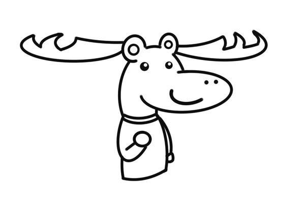 卡通鹿先生简笔画