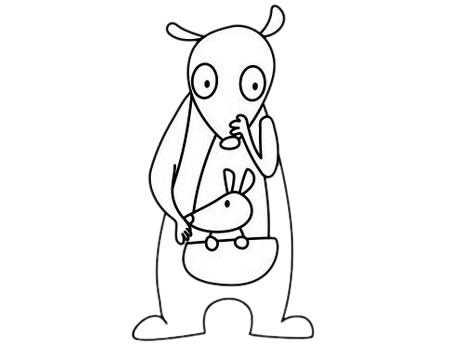 可爱的袋鼠简笔画步骤图片大全超简单画法